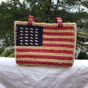 Handbags - American Flag Hand Woven Straw Purse
